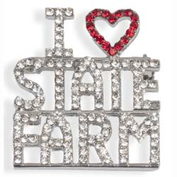 I Love State Farm Silver Pin Thumbnail